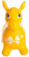 Яркий детский надувной резиновый прыгун в форме ослика, жёлтого цвета, вес - до 25 кг арт. 0372