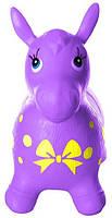 Яркий детский надувной резиновый прыгун в форме ослика, фиолетового цвета, вес - до 25 кг арт. 0372