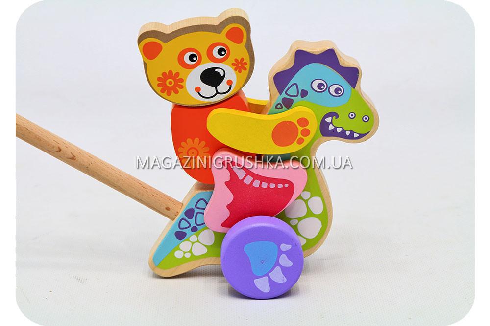 Детская деревянная каталка дракончик-каталка 12466 Cubika (Кубика). Деревянные эко игрушки
