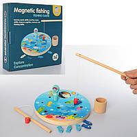 Деревянная игрушка Рыбалка MD 2219  магнитная,2удочки,рыбки,игровое поле,в кор-ке,23-23-5,5см