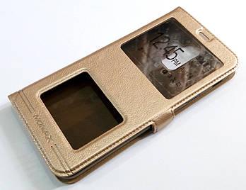 Чехол книжка с окошками momax для Samsung Galaxy A6+ A605 2018 золото1
