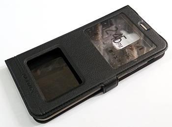 Чехол книжка с окошками momax для Samsung Galaxy A6+ A605 2018 черный