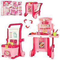 Детский игровой набор кухня - трансформер с посудой и аксессуарами, размер кухни 59,5-47-42,5 см арт. 008-927