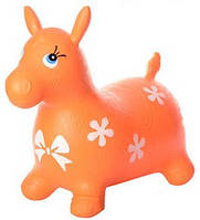 Яркий детский надувной резиновый прыгун в форме ослика, оранжевого цвета, вес - до 25 кг арт. 0372