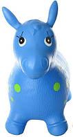 Яркий детский надувной резиновый прыгун в форме ослика, голубого цвета, вес - до 25 кг арт. 0372