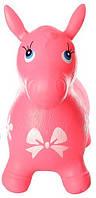 Яркий детский надувной резиновый прыгун в форме ослика, розового цвета, вес - до 25 кг арт. 0372