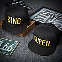 Комплект кепка снепбек King & Queen (Король і Королева) з прямим козирком для двох, фото 3
