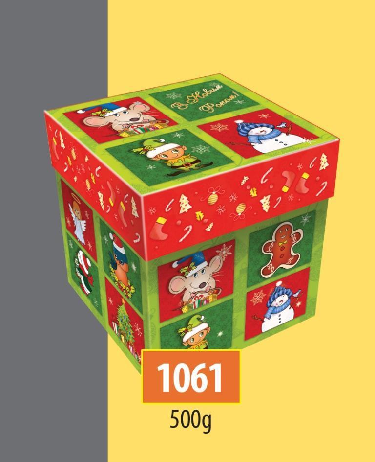 Новогодняя подарочная коробочка для конфет и сладостей 500гр №1061 300шт/ящ КД
