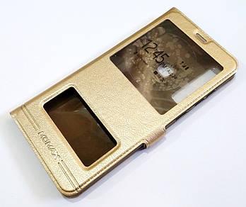 Чехол книжка с окошками momax для Samsung Galaxy A9 A920 (2018) золотой