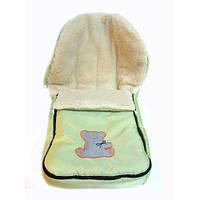 Зимний детский конверт на овчине салатовый, фото 1