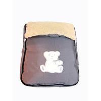 Зимний детский конверт на овчине серый, фото 1