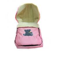 Зимний детский конверт на овчине розовый