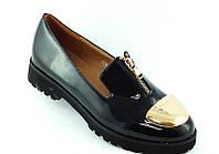Туфли женские черные золотистая молния Т436