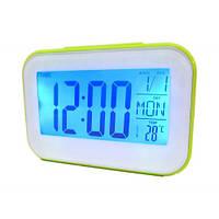 Часы будильник термометр календарь 2620 Green, фото 1