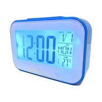 Часы будильник термометр календарь 2620 Blue, фото 1