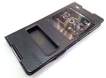 Чехол книжка с окошками momax для Sony Xperia C5 Ultra E5553, E5506, E5533, E5563 черный
