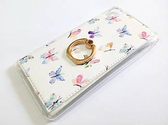Чехол с кольцом для Sony Xperia M4 Aqua Dual e2312 / e2303 / e2333 силиконовый с рисунком бабочки