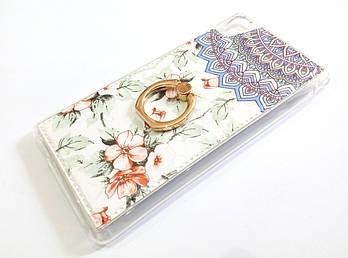 Чехол с кольцом для Sony Xperia M4 Aqua Dual e2312 / e2303 / e2333 силиконовый с рисунком цветы бело-голубой