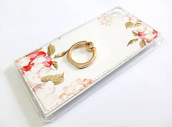 Чехол с кольцом для Sony Xperia M4 Aqua Dual e2312 / e2303 / e2333 силиконовый с рисунком цветы белый