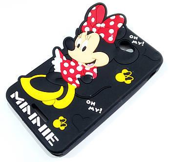 Чехол детский для Sony Xperia E4 dual e2115 силиконовый объемный игрушка Минни Маус черный