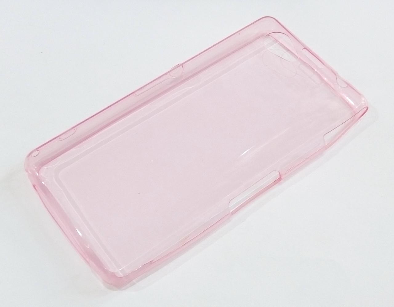 Чехол для Sony Xperia Z1 Compact D5503 силиконовый ультратонкий прозрачный розовый