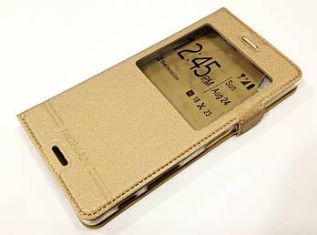 Чехол книжка с окошком для Sony Xperia X dual f5122, f5121 золотой