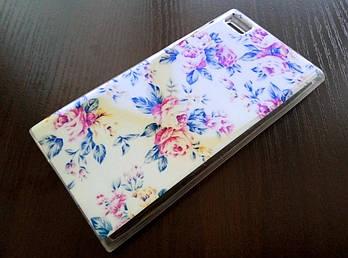 Чехол для Xiaomi Mi 3 силиконовый с рисунком цветы