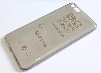 Чехол для Xiaomi Mi 6 Plus силиконовый ультратонкий прозрачный серый