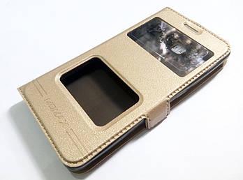 Чехол книжка с окошками momax для Xiaomi Redmi 2 золотой