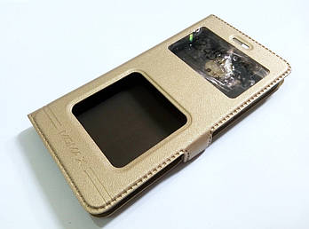 Чехол книжка с окошками momax для Xiaomi Redmi 3 золотой