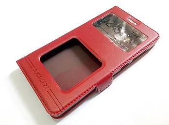 Чехол книжка с окошками momax для Xiaomi Redmi 3x красный