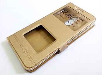 Чехол книжка с окошками momax для Xiaomi Redmi 5 золотой