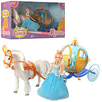 Карета 258A (18шт) лошадь-ходит,звук, 41см, кукла 15см, на бат-ке, в кор-ке, 45-22,5-12,5см