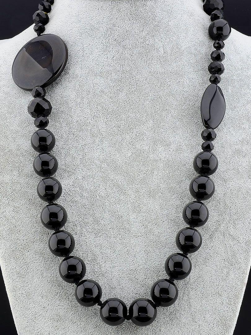 Бусы Агат черного цвета 80 см. - стильное женское украшение