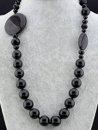 Бусы Агат черного цвета 80 см. - стильное женское украшение, фото 2