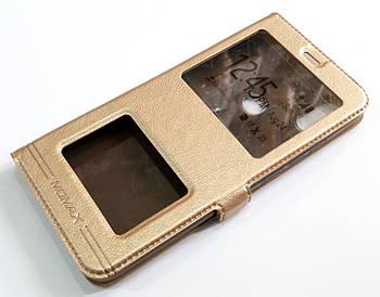 Чехол книжка с окошками momax для Xiaomi Redmi S2 золотой