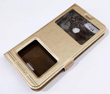 Чехол книжка с окошками momax для Xiaomi Redmi 6 золотой