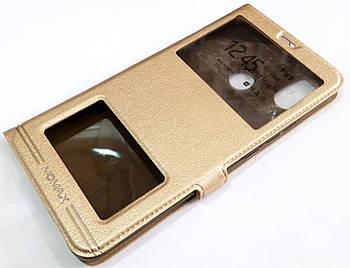 Чехол книжка с окошками momax для Xiaomi Mi Max 3 золотой