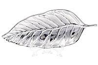 Декоративное керамическое блюдо Лист 24см, цвет - серебро BonaDi 733-273