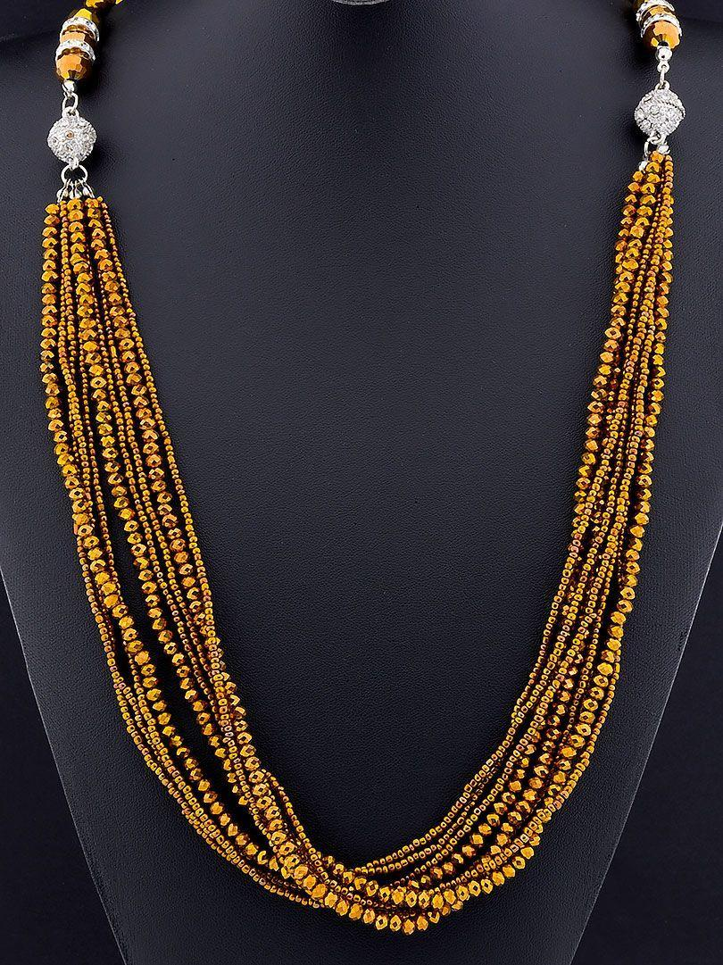 Бусы Чешский хрусталь 100 см. Золото - стильное и модное  женское украшение