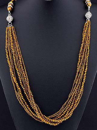 Бусы Чешский хрусталь 100 см. Золото - стильное и модное  женское украшение, фото 2