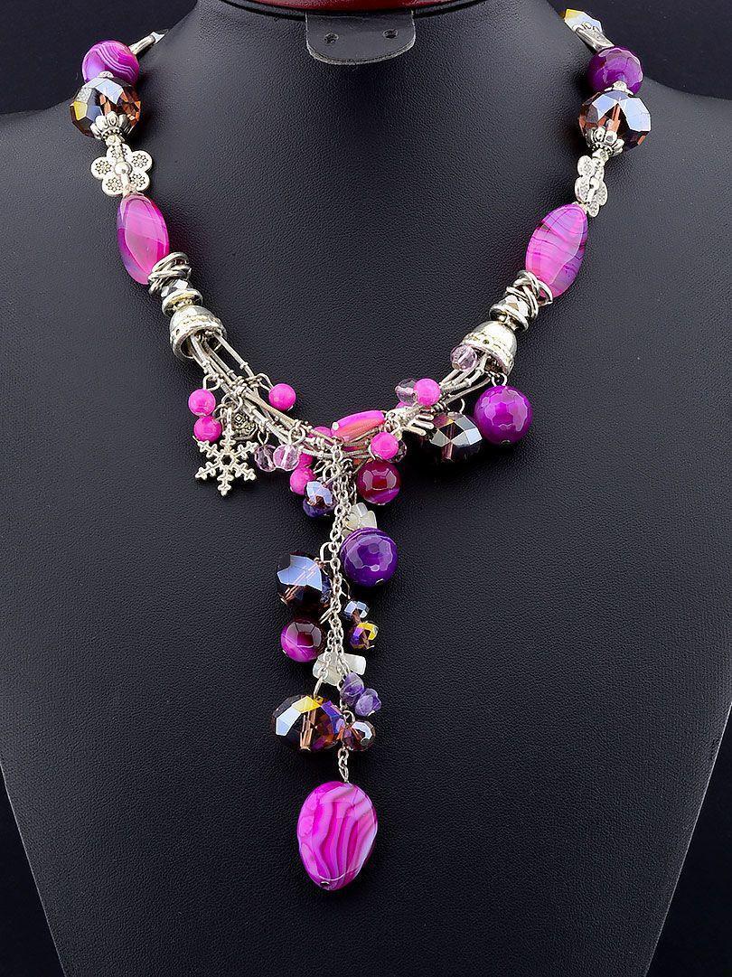 Бусы Агат 48 см.- стильное женское украшение из натуральных камней