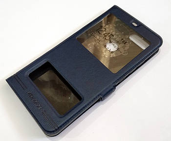 Чехол книжка с окошками momax для Xiaomi Mi 8 Lite синий