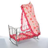 Кроватка 9349 для куклы,желез,качал,47-33-67см,балдахин,подушка,сп.место 43см, 33,5-47-5,5см