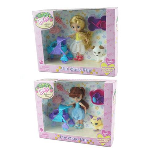 Кукла 57004  14см, коляска, сумочка, животное, 2вида, в кор-ке, 26,5-20,5-7,5см