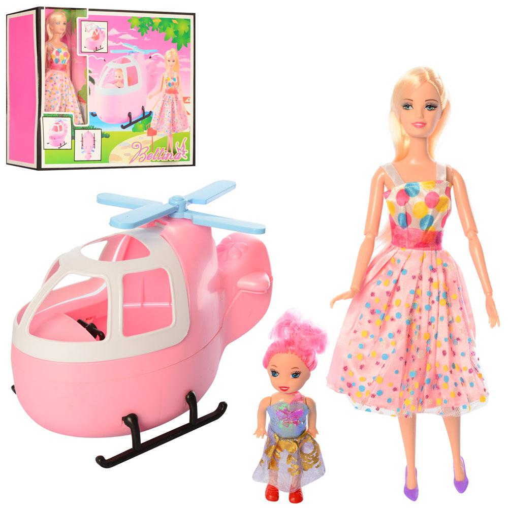 Кукла 68126  шарнир,30см, дочка 10см, вертолет(разобр), в кор-ке, 38-33-12см