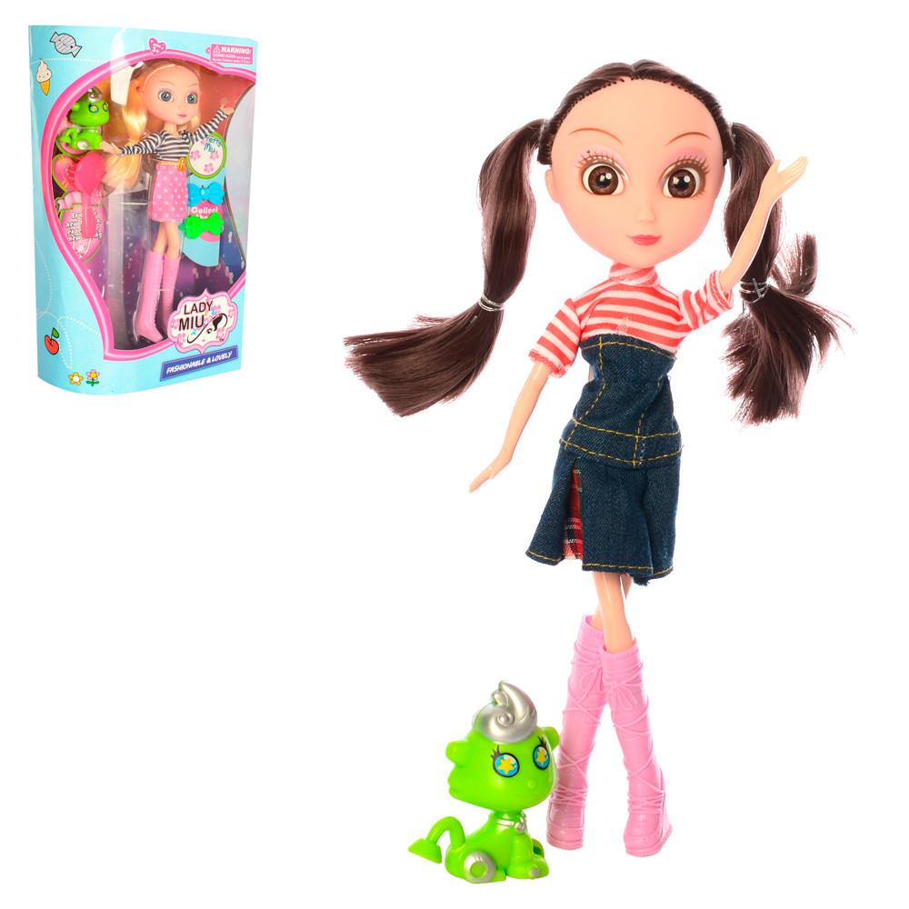 Кукла 83015  24см, фигурка, расческа, заколочки, 2вида, в кор-ке, 19,5-31-8,5см