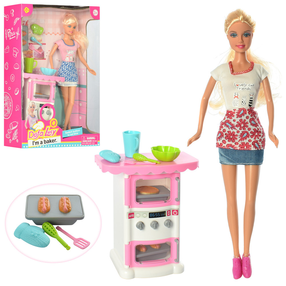 Кукла DEFA 8421  29см, кухня, посуда, 2 вида, в кор-ке, 22-32-7,5см