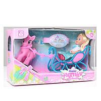 Кукла K899-99 13см, сани, лошадка, в кор-ке, 25-14,5-7см