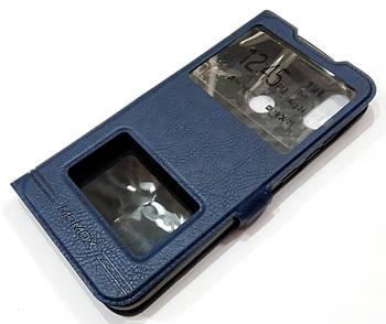 Чехол книжка с окошками momax для Xiaomi Redmi Note 7 / Note 7 Pro синий